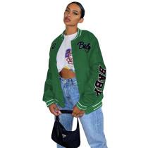 Autumn Women Green Printed Baseball Crop Jacket