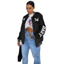 Autumn Women Black Printed Baseball Crop Jacket