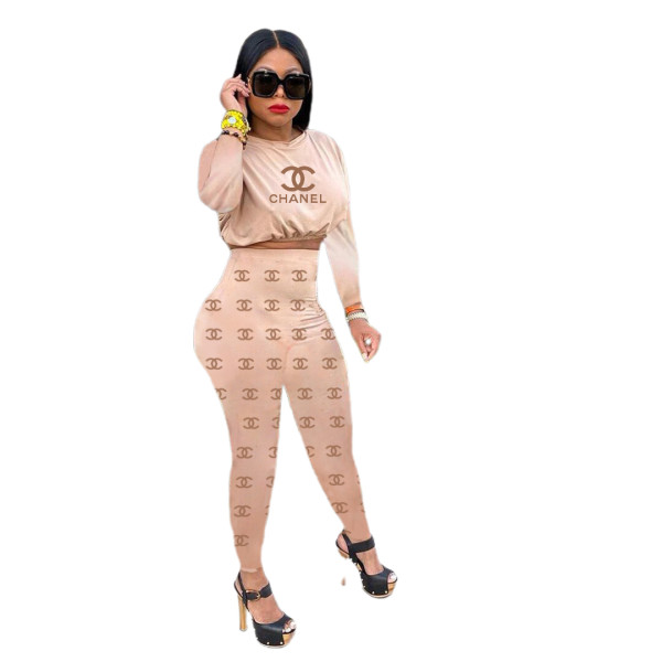 Casual Camel Printed Dyed Two Piece Women Clothing Sets