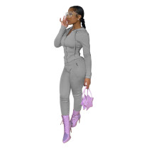 Casual Grey Hoodie Zipper Long Sleeve Sports Two Piece Outfits Set