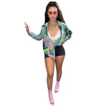 Fashion Printed Turn-down Neck Blouse