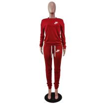 Designer Clothes Red Letter Stacked Sweatpants Jogger Sweatsuit Set