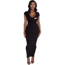 Black Ribbed Low Back V Neck Zipper Sleeveless Maxi Dress