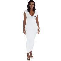 White Ribbed Low Back V Neck Zipper Sleeveless Maxi Dress