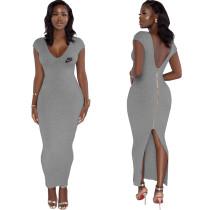 Grey Ribbed Low Back V Neck Zipper Sleeveless Maxi Dress