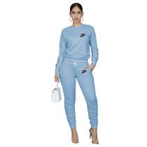 Designer Clothes Light Blue Letter Stacked Sweatpants Jogger Sweatsuit Set