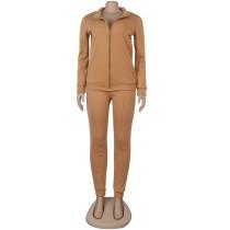 Solid Color Zip Up High Neck Autumn 2 Piece Pant Set
