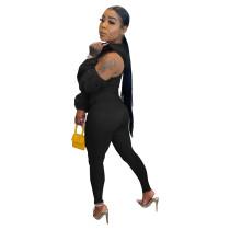 Solid Color Black Long Sleeve V-neck Zipper Casual Cold Shoulder Stitching Jumpsuit