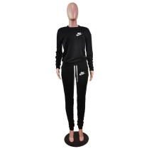 Designer Clothes Black Letter Stacked Sweatpants Jogger Sweatsuit Set