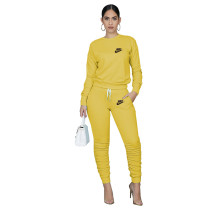 Designer Clothes Yellow Letter Stacked Sweatpants Jogger Sweatsuit Set