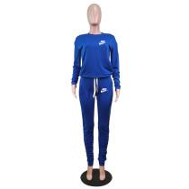 Designer Clothes Royal Blue Letter Stacked Sweatpants Jogger Sweatsuit Set