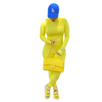 Yellow Pit Letter Embroidered High Neck Jumpsuit with Zipper