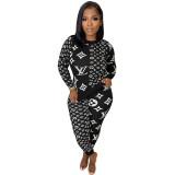 Fall 2021 Black Women Clothes Pit Printed Slim Women Pant Set