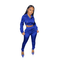 Solid Color Blue Zipper Cropped Hoodie Trousers Two Piece Set
