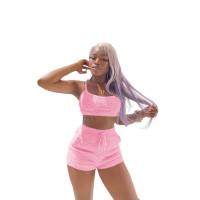 Autumn Trendy Clothing Pink Plush Spaghetti Strap Crop Top 2 Piece Set