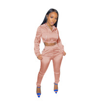 Solid Color Pink Zipper Cropped Hoodie Trousers Two Piece Set