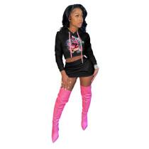 Casual Printed Graffiti Mouth Hoodie Sweatshirt Skirt Set