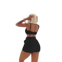 Autumn Trendy Clothing Black Plush Spaghetti Strap Crop Top 2 Piece Set