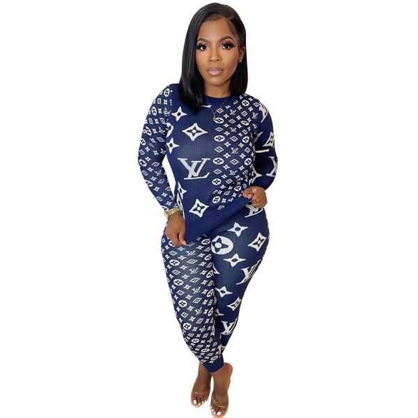 Fall 2021 Blue Women Clothes Pit Printed Slim Women Pant Set