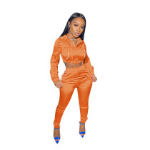 Solid Color Orange Zipper Cropped Hoodie Trousers Two Piece Set