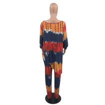 Plus Size Irregular Tie Dye Oblique Shoulder Pants Set