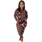Fall 2021 Wine Red Women Clothes Pit Printed Slim Women Pant Set