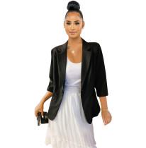 British Style Black Cotton Linen Three Quarter Sleeves Jacket