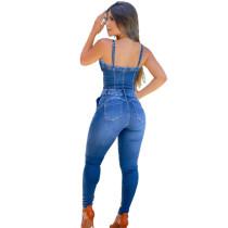 Ripped Holes Denim Slim Jumpsuit