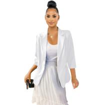 British Style White Cotton Linen Three Quarter Sleeves Jacket