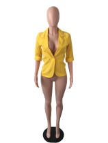 British Style Yellow Cotton Linen Three Quarter Sleeves Jacket