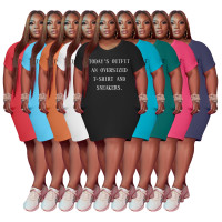 White Women's V Neck Short Sleeve Solid Color Printed Plus-size Dress