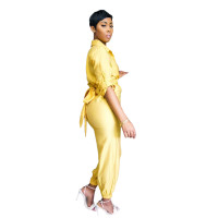 Casual Yellow Button Loungewear Jumpsuit Women's Clothing Lounge Sets