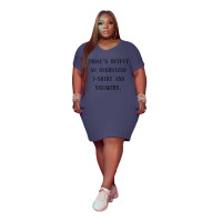Women's V Neck Short Sleeve Solid Color Printed Plus-size Dress