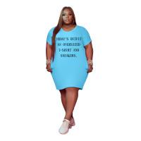 Sky Blue Women's V Neck Short Sleeve Solid Color Printed Plus-size Dress