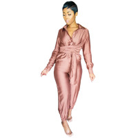 Casual Purple Button Loungewear Jumpsuit Women's Clothing Lounge Sets