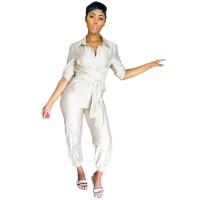 Casual White Button Loungewear Jumpsuit Women's Clothing Lounge Sets