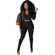 Solid Color Black Long Sleeve Sets Stacked Sweat Suits Women Pleated 2 Piece Set Clothing