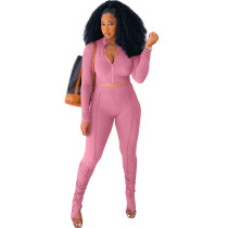 Solid Color Pink Long Sleeve Sets Stacked Sweat Suits Women Pleated 2 Piece Set Clothing
