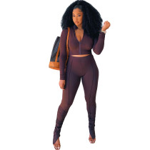 Solid Color Coffee Long Sleeve Sets Stacked Sweat Suits Women Pleated 2 Piece Set Clothing