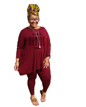 Casual Wine Red Printed Loose Plus Size Pant Sets