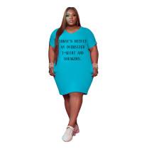 Light Blue Women's V Neck Short Sleeve Solid Color Printed Plus-size Dress