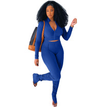 Solid Color Blue Long Sleeve Sets Stacked Sweat Suits Women Pleated 2 Piece Set Clothing