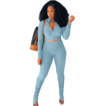 Solid Color Long Sleeve Sets Stacked Sweat Suits Women Pleated 2 Piece Set Clothing