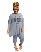 Casual Grey Printed Loose Plus Size Pant Sets