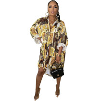 Loose Turn-down Neck Chain & Print Shirt Dress