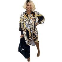 Loose Turn-down Neck Leopard Chain & Print Shirt Dress