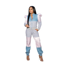 Puff Sleeve Color Block Zipper Pants Set with Pockets