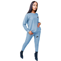 Fashion Light Blue Round Neck Women 2 Pieces Set Printed Tracksuits