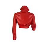 High-neck Stylish Imitation Leather Jacket