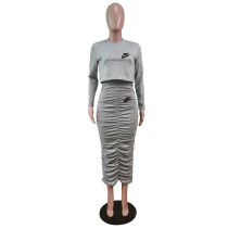 Solid Color Grey Long Sleeve Printed Pullover Women Skirt Sets Two Piece Outfits